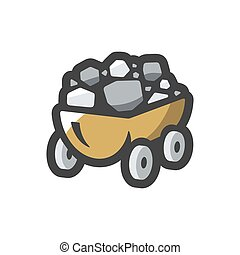 Coal Wagon Ore Cart Vector icon Cartoon illustration - ...