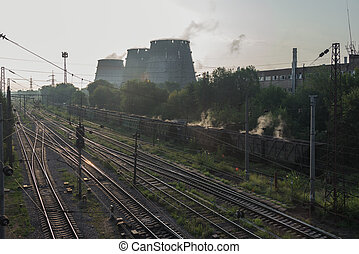 Coal. Wagons with burning coal go to the plant