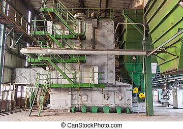 Coal water boiler in power station.