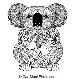 Coala coloring book - Drawing zentangle Koala for coloring...