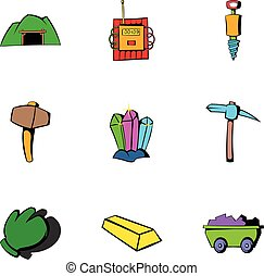 Coalpit icons set, cartoon style