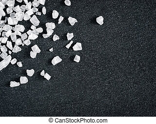 coarse sea salt on stone close up