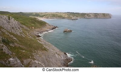 Coast and beach 3 cliffs Bay Wales - The Gower Peninsula...