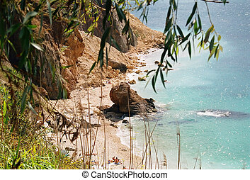 Coast and beach with blue water