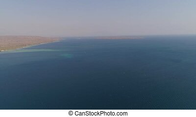 coast and coral reef - aerial view coastline with beach and...