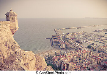 Coast and Harbor of Alicante from Santa Barbara Castle