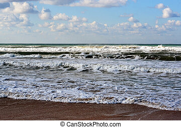 Coast and waves of the Black Sea.