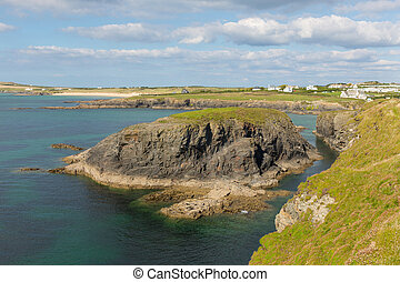 Coast at Treyarnon Bay Cornwall uk