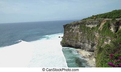 Coast at Uluwatu temple aerial view Bali, Indonesia