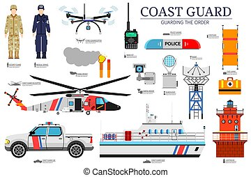 coast guard day flat icoms set. Guarding the order background. Devices infographic concept. Layout illustrations template
