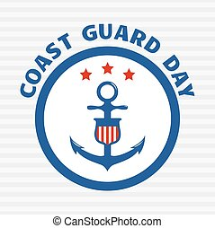 Symbol of coast guard on grey stripe background.