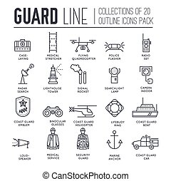 coast guard day illustration vector outline icon set. Guarding the order elements concept