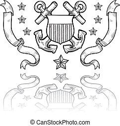 Coast Guard military insignia - Doodle style military rank...