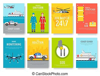 coast guard thin line brochure cards set. Guarding traditional template of flyear, magazines, posters, book cover, banners. Devices outline invitation concept background. Layout quality modern pages