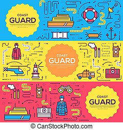 coast guard vector brochure cards thin line set. Guarding the order template of flyear, magazines, posters, book cover, banners. Layout  elements outline illustrations modern pages