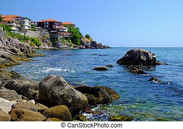 Coast in old town of Sozopol, Bulgaria