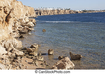 Coast in Sharm El Sheikh. View from the coast