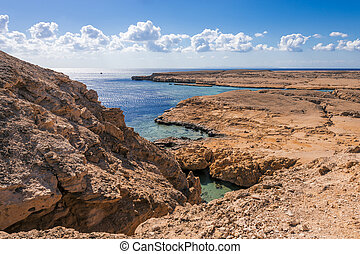 Coast line in national park Ras Mohammed in Sinai, Egypt.