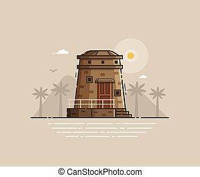 Coast Observation Tower Vector Illustration