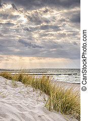 Coast of Baltic Sea with dark clouds