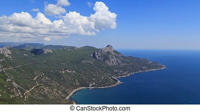 coast of Crimea. South. Laspi Bay. Panorama. TimeLapse....
