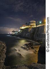 Coast of Genoa Nervi at night