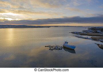 Coast of Gothenburg in Sweden drone photo