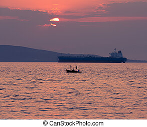 Coast of Greece at sunset, Peloponnesus
