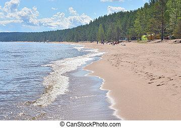 Coast of lake at sunny day.
