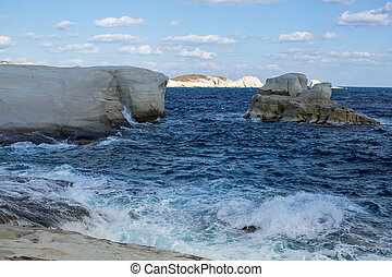Coast of Milos island, Aegean sea, Greece.