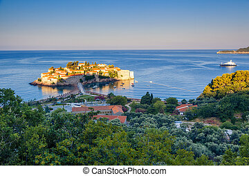 Coast of Montenegro - Fantastic view of the Sveti Stefan,...