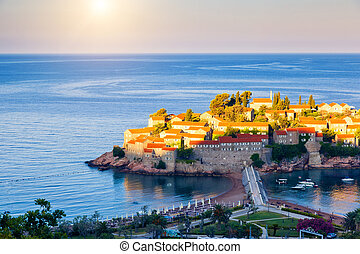 Coast of Montenegro - Fantastic view of the Sveti Stefan, ...