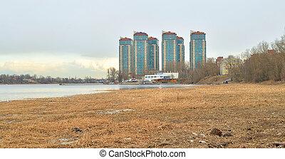 Coast of Neva river at spring day.