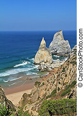 Coast of Portugal. The rocks, similar to ice cream.