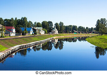 Coast of river in old Tikhvin, Russia