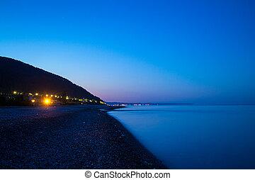 Coast of sea in night