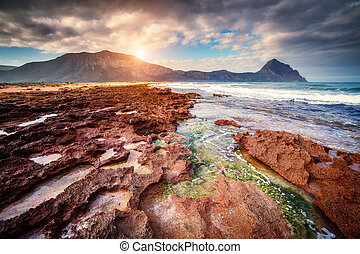 Coast of Sicily - Fantastic view of the nature reserve Monte...