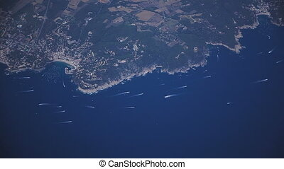 Coast of Spain. Top view of the Mediterranean Sea and the...