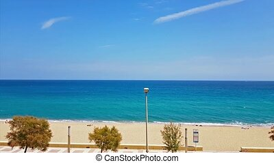 Coast of sunny beach in Blanes, Costa Brava, Spain