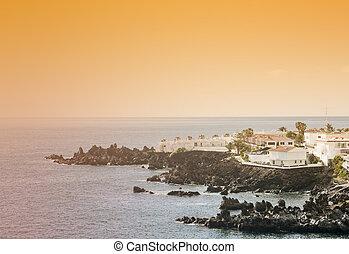 Coast of Tenerife small village at sunset