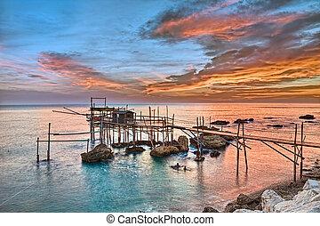coast of the Adriatic sea in Chieti, Abruzzo, Italy - old ...