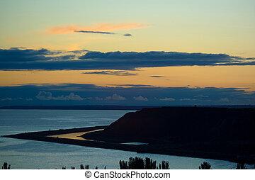 coast of the Azov Sea - a beautiful evening seascape