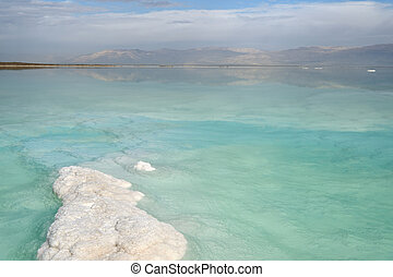 Coast of the Dead Sea in cloudy weather