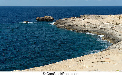 Coast of the island of Gozo (Malta) - Northwestern coast of...