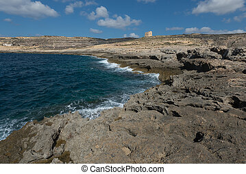 Coast of the island of Gozo (Malta), Dwejra Tower -...