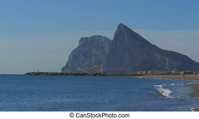 Coast of the sea on the border of Gibraltar between Spain...