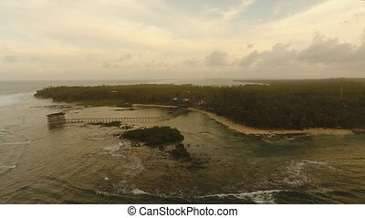 Coast of the sea with surf. - Aerial footage popular place...