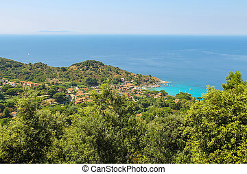 Coast of Tyrrhenian Sea on Elba Island, Italy. View to San...