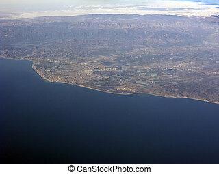 Coast of Ventura County, CA - Bird-eye view of Camarillo,...
