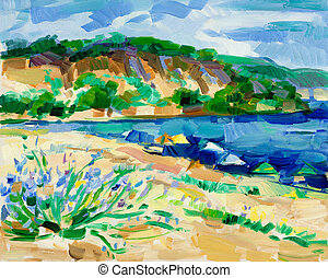 Original oil painting of virgin or untrodden beach(coast) and cliffs on canvas. Modern Impressionism